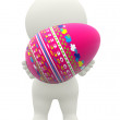 Royalty-Free Stock Photo: 3D woman carrying an easter egg