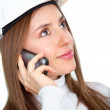 Female engineer on the phone — Stock Photo