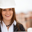 Female architect smiling — Stock Photo