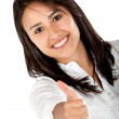 Woman with thumbs up — Stockfoto