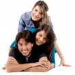 Friends lying on the floor - Stock Photo