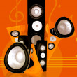 Music and sound abstract illustration in orange - Stock Photo