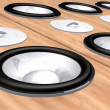 Abstract wooden speakers background — Stock Photo