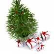 Christmas tree and gifts — Stock Photo #7748663
