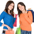 Beautiful girls shopping — Stock Photo