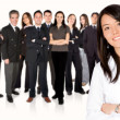 Business team work - girl leading — Stock Photo
