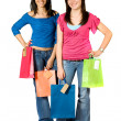 Stock Photo: Beautiful girls with shopping bags
