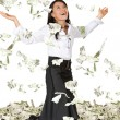 Business woman with lots of money — Stockfoto