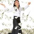 Business woman with lots of money — Stock fotografie