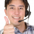 Business customer services thumbs up — Stock Photo