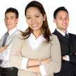Asian entrepreneur and her business team — Stockfoto