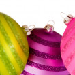 Colourful christmas balls on white — Stock Photo