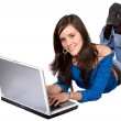 Casual girl on a laptop — Stock Photo