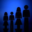 Stock Photo: Backlit family illustration