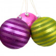 Christmas baubles hanging - Stock Photo