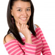 Beautiful girl smiling in pink — Stock Photo