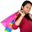 Asian girl with shopping bags — Stock Photo
