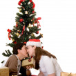 Couple at christmas time - 图库照片