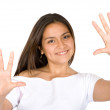 Fun girl showing her hands — Stock Photo