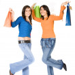 Girls having fun on a shopping day out — Stock Photo