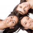 Beautiful girls with heads together — Stock Photo