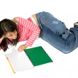 Girl studying on the floor — Stock Photo