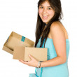 Beautiful girl with gift — Stock Photo
