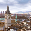 Zurich skyline with tower clock - 图库照片