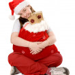 Santa claus full of gifts - Stock Photo