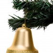 Gold christmas bell — Foto Stock