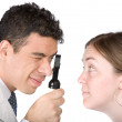 Eye test - doctor and patient - Stock Photo