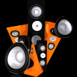 Black music and sound abstract illustration - Stockfoto