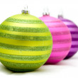 Christmas balls on a soft surface — Stock Photo