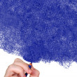Hand drawing with a blue pencil — Stock Photo #7749245