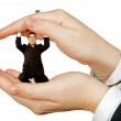 Business man protected by hands - Foto de Stock