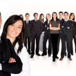 Business partners leading huge business team — Stock Photo