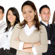 Asian entrepreneur and her business team — Stock Photo