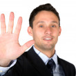 Stock Photo: Business mshowing his hand
