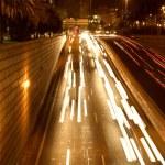 Moving traffic at night — Stock Photo