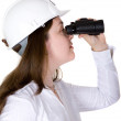 Architect searching with binoculars — Stock Photo #7749655