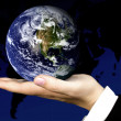 Business hand holding a globe - Stock Photo