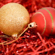 Gold and red christmas balls - Stock Photo