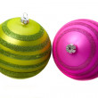 Pair of christmas baubles — Stock Photo