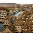 Zurich skyline - river view - Stock Photo