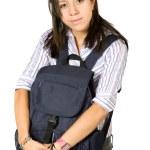 Beautiful student hugging a bag — Stock Photo