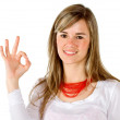 Stock Photo: Casual wom- Ok sign