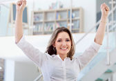 Excited business woman — Stock Photo