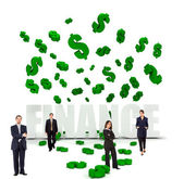 Businesspeople and dollar symbols — Stock Photo