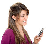 Girl with a cellphone — Stock Photo