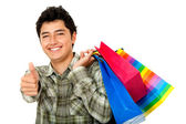 Mann einkaufen - daumen hoch — Stockfoto